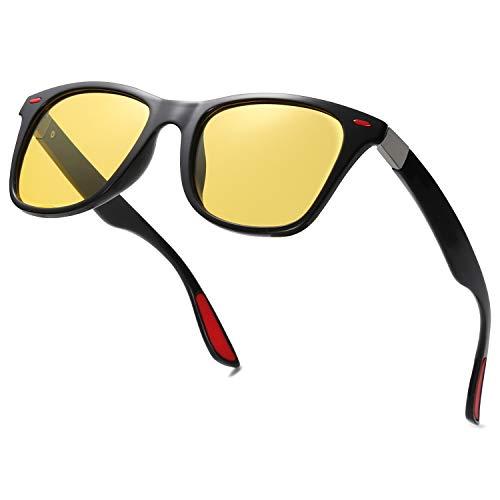 SOJOS Polarizado deportes TR90 gafas de sol para correr ciclismo pesca golf conducción ARENA SJ2101, Marco negro C6 / lente de visión nocturna,