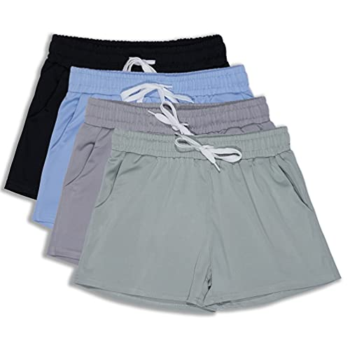 4 Pack: Girls Active Athletic Performance Quick Dry Fit Short Running Sports Shorts Soccer Tennis Summer Basketball Lounge Casual Sleep Bottoms Gym Workout Pockets Drawstring Dolphin- Set 6,LG (14)