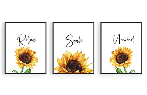 Sunflower Bathroom Decor,Relax Soak Unwind Wall Art,Nursery Minimalist Watercolor Painting ,Yellow Plant Botanical Prints,Farmhouse Wall Decor,Boho Poster for Women,Teens or Girls Bedroom, Living Room, College, Office (Set of 3, 8 x10 in, Unframed)