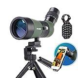 USCAMEL 10-30 x 50 mm telescopio terrestre con trípode y adaptador de cámara de teléfono móvil, telescopio monocular HD resistente al agua y a prueba de niebla para observación de aves, vida silvestre