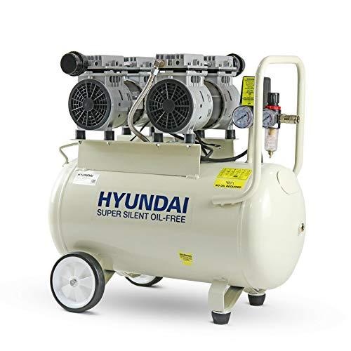 Hyundai 50 Litre Silent, 100PSI, 11CFM, 7 Bar, 2HP Portable, Oil Free Small, 2 Year Warranty, Air Compressor for Workshops, 230v 3 Pin 13amp Plug, White, 1500 W, 230 V, HY27550