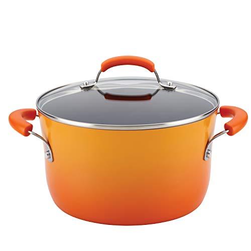 Rachael Ray 16084 Brights Nonstick Stock Pot/Stockpot with Lid, Aluminum, 6 quarts, Orange Gradient