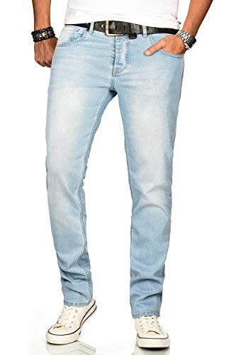 A. Salvarini Designer Herren Jeans Hose Regular Slim Fit Jeanshose Mode Stretch [AS-170-W29 L30]