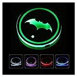 CAIM Porte-gobelet de Voiture 2PCS Logo de Voiture LED Eau Colorful Tapis de Tasses Éclair de siège Accessoires compatibles avec Superhero Batman Logo Lampe de décoration sous-Verres