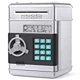 KMiKE Electronic Piggy Bank for Kids Cash Coin Cartoon ATM Money Saver Coin Bank for Kids with Password Great Gift Toy for Kids Children (Silver)