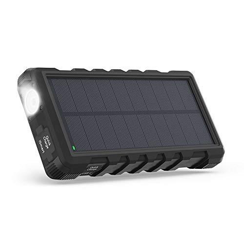 RAVPOWER Pacco Batteria ad Energia Solare da 25000mAh con Torcia