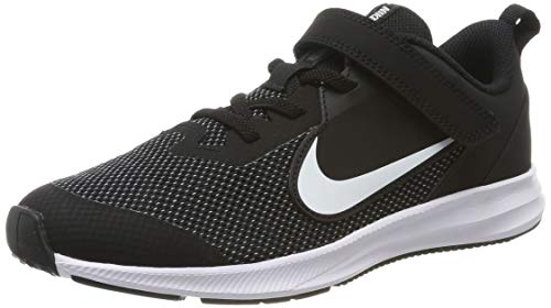 Nike Unisex-Kid's Downshifter 9 Pre School Velcro Running Shoe, Black/White-Anthracite-Cool Grey, 3Y Youth US Little Kid