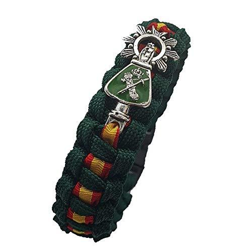 Pulsera Paracord Virgen del Pilar. Verde Guardia Civil. Medida: 21,5 x