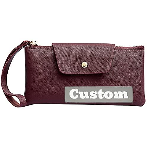 Nombre Personalizado Zipper Slim Long Wallet para Mujeres de Cuero Delgado Delgado Billetera pequeña para Las Mujeres (Color : Red, Size : One Size)