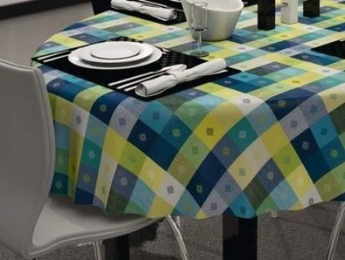 Citron Vert /& Bleu Cercles PVC Nappe Vinyle Toile Cirée Cuisine Table de salle à manger