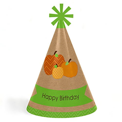 Big Dot of Happiness Pumpkin Patch - Fall, Halloween or Thanksgiving Cone Happy Birthday Party Hats for Kids and Adults - Set of 8 (Standard Size)
