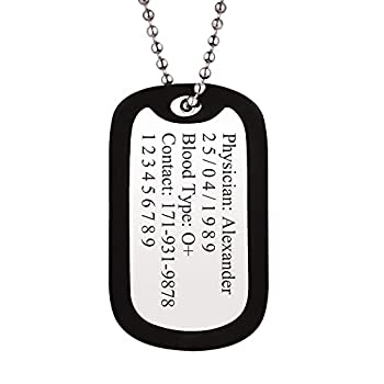 Men Women Personalized Military Army Dog Tags with Black Silencer Custom Engraved Medical Alert ID Tag Pendant with Stainless Steel Chain 23