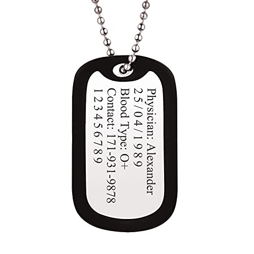 """Men Women Personalized Military Army Dog Tags with Black Silencer Custom Engraved Medical Alert ID Tag Pendant with Stainless Steel Chain 23"""""""