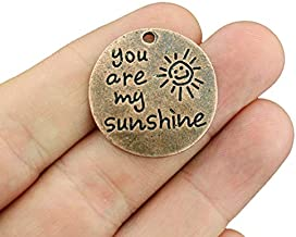 4 Sunshine Charms Antique Copper Tone - You are My Sunshine - BC1633
