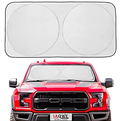 IAQWE Windshield Sun Shade 70x35 Inch Blocks UV Rays Foldable Sun Visor Shield Sunshade with Automotive Interior Protection for Most Vehicle SUV Truck Pickup, 1 Pack (Large)