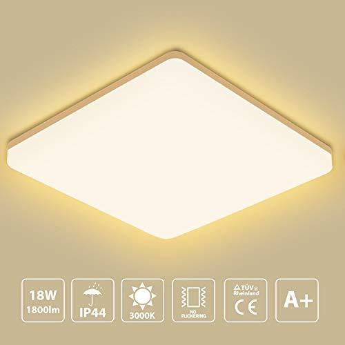 Led Deckenleuchte Warmweiß, LED Deckenlampe 3000K 18W 1800lm IP44 Wasserfest Badlampe, Oeegoo led Lampe ideal Für Badezimmer Balkon Flur Küche Wohnzimmer, Badezimmerlampe 28x28x4.8cm