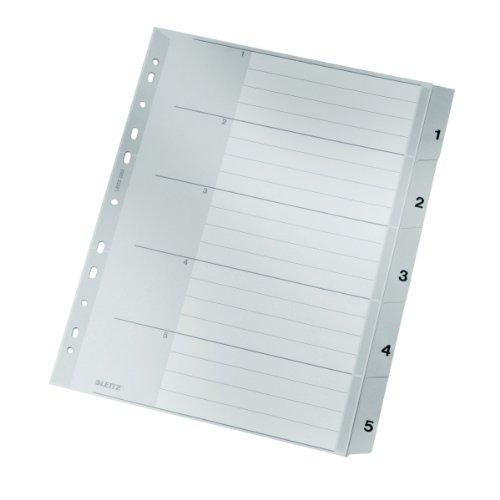 Leitz Register für A4, Deckblatt aus Karton und 5 Trennblätter aus Kunststoff, Taben mit Zahlenaufdruck 1-5, Überbreite, Grau, 12830000