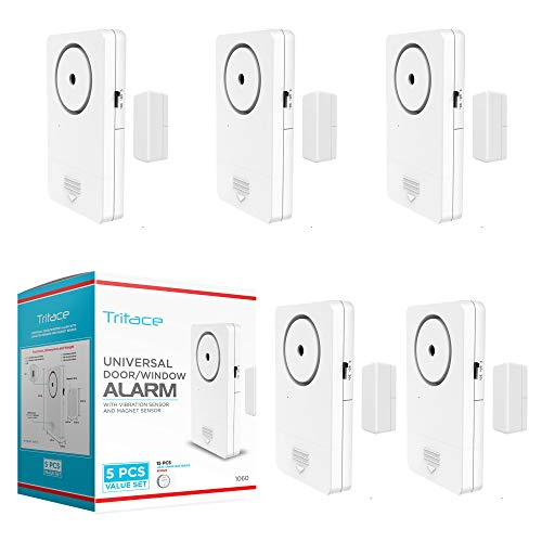 Tritace Universal Door/Window Alarm with Vibration and Magnet Sensor - Pool Door Alarm with Loud 120db Ring - Security Systems for Sliding, Glass, Main Entrance - With Extra 15 LR 44 Spare Batteries