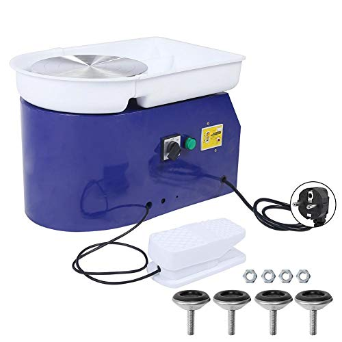 Máquina de rueda de cerámica eléctrica de 24 cm, máquina de moldeo de rueda de cerámica con pedal fijo y fregadero desmontable, herramienta de arcilla dIY para cerámica para manualidades que hacen cer