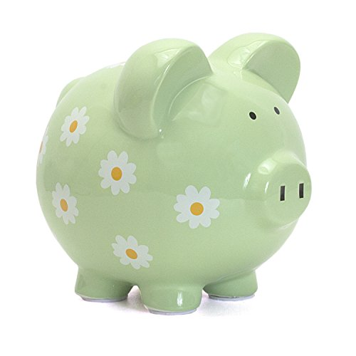 Child to Cherish Large Daisy Pig Bank, Green