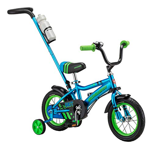 Schwinn Grit Steerable Kids Bike, Boys Beginner Bicycle, 12-Inch Wheels, Training Wheels, Easily Removed Parent Push Handle with Water Bottle Holder, Blue