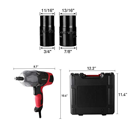 GETUPOWER 120 Volt Electric Impact Wrench 1/2 inch, 350 Ft.lbs Max Torque, Portable Corded Impact Wrench with Sockets and Carry Case