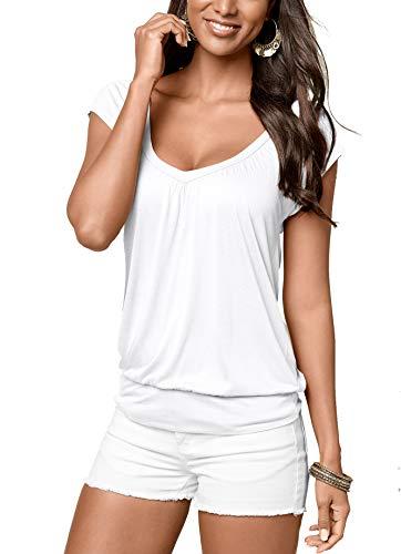 Uniquestyle Damen Sommer T-Shirt Kurzarmshirt V-Ausschnitt Lässige Stretch Falten Bluse Tops Oberteil Baumwollshirt Blickdicht Weiß XL