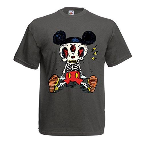 lepni.me Camisetas Hombre Esqueleto de un ratón (Large Grafito Multicolor)
