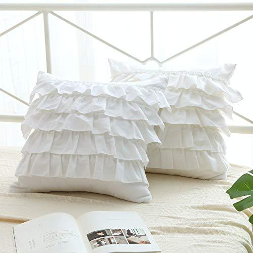 Meaning4 - Juego de 2 fundas de almohada de color blanco brillante con volantes, 4 fundas de cojín de algodón egipcio, 45 x 45 cm, suave