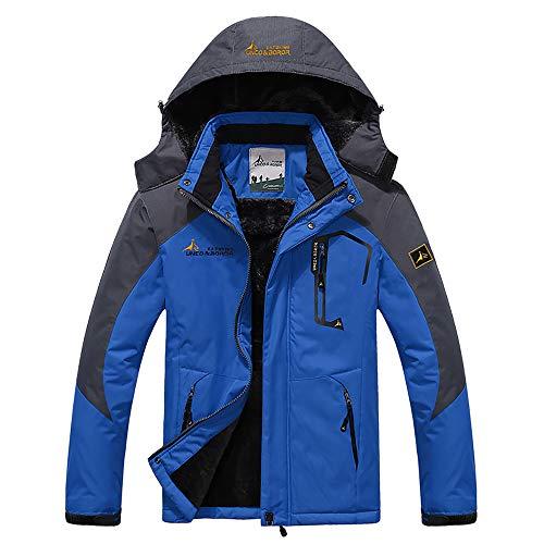 Men's Winter Coats Waterproof Mountain Ski Jacket Warm Snow Jacket Windproof Rain Jacket for Hiking Camping Outwear Blue