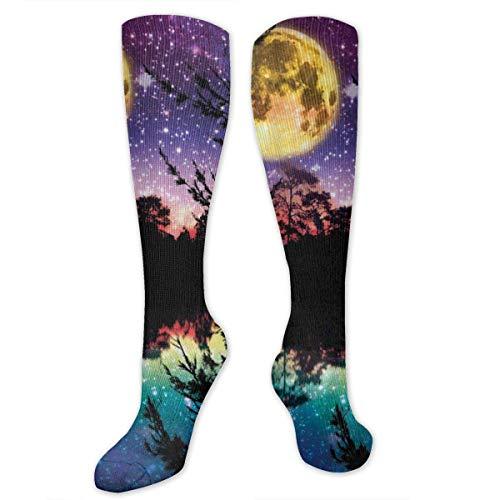 lucies Lake Moonlight Stars In Night Sky Bäume Socken Athletic Socks Kniestrümpfe Für Männer Frauen Sport Lange Sockenstrümpfe 50CM