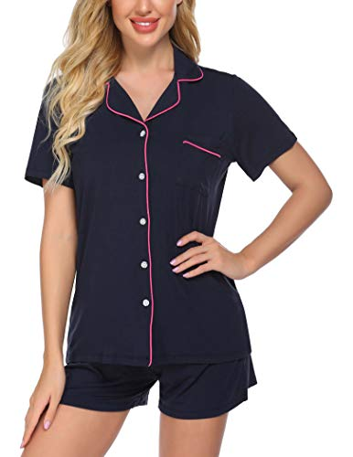 Ekouaer Women's Knit Top and Short Buttom Down Pajama Lounge Set, Medium,Navy