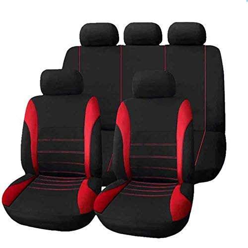 LQW HOME Auto Chair Cushion 9pcs/set 5 Seats Car Seat Cover Fit Most Car Truck SUV or Van Breathable Universal Auto Cushion Protector Polyester Cloth Skid resistance (Color : Red)