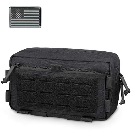 WYNEX Tactical MOLLE EDC Horizontal Pouch of Multi-Function Design, Molle Tool Pouch Compact Utility Bag Multipurpose Molle Attachment Fanny Pack Organizer, Shoulder Strap and Flag Patch are Included