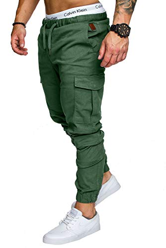 Amaci&Sons Jogger Cargo Herren Chino Jeans Hose 7001 Khaki W32