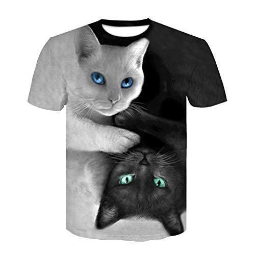 XJWDTX T-Shirt À Manches Courtes Imprimé Couple 3D Décontracté pour Homme