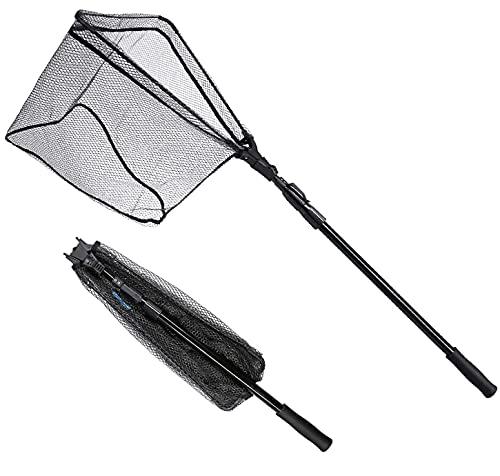 サンライク(SANLIKE) 玉網 タモ網 折り畳み式 ワンタッチネット 伸縮式 3段階 調節可能 釣りネット すくい網 ランディングネット 軽量 ラバーコーティングネット ガラス繊維の柄 淡水海水適用 コンパクト 三角網 漁具 180cm