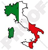 ITALIEN Italienische Karte-Flagge ITALIA 103mm Auto & Motorrad Aufkleber, Vinyl Stickers