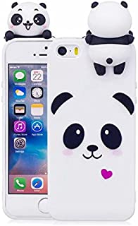for iPhone 5/5S SE Case, iFunny Cute 3D Cartoon Animals Unicorn Panda Shockproof and Full Protective Soft Silicone Rubber Phone Case for iPhone 5/5S SE (White Panda)