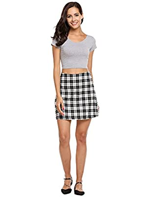 ACEVOG Women's Cotton Check Print A-Line Mini Skirt