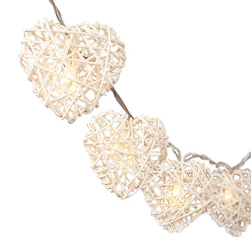 BLAZE ON Hand-Woven Rattan Wicker Heart Fairy Lights (Natural Cream) - 20 LED Lights - UK Plug - Safe - Indoor - Low Voltage - Decorative Lights - DC 31V