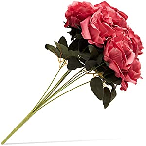 Juvale Artificial Flowers Silk Rose Bouquet with Stems for Wedding Decor and Crafts, Dark Pink, 10 Heads