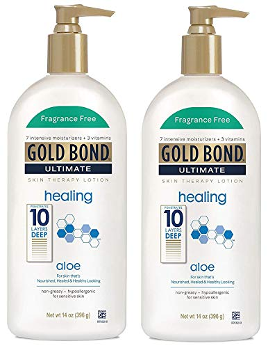 Gold Bond Ultimate Fragrance Free Skin Therapy Lotion Healing with Aloe, 14oz (Pack 2) by Gold Bond