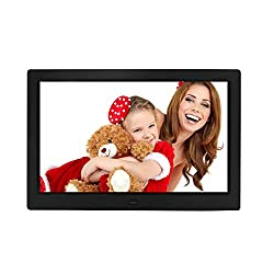 10 inch Digital Photo Frame Digital Picture Frame with Remote Control, Photo Video MP3 Player / 4 Windows/Calendar/Alarm Clock / 5 Languages Electronic Photo Frame for Desk Wall
