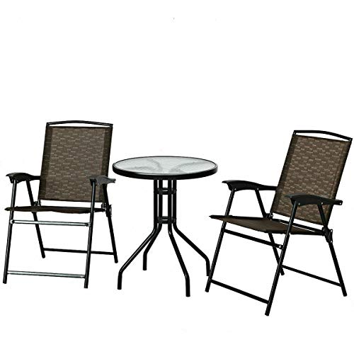 3 Pcs Outdoor Table&Chair Set Foldable Chairs Glass Top Table Home Garden Patio