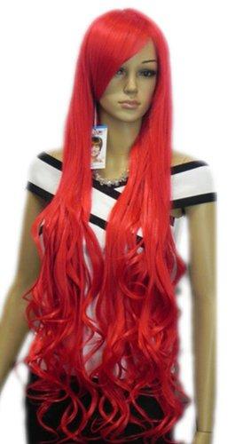Qiyun Longue Rouge Ondule Resistant a la Chaleur Fibre Synthetique Cheveux Complete Cosplay Anime Costume Perruque