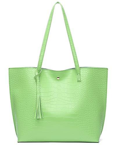 Women's Soft Faux Leather Tote Shoulder Bag from Dreubea, Big Capacity Tassel Handbag Green-cro