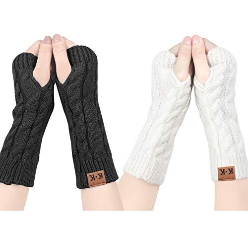 ECOMBOS Damen Fingerlose Handschuhe - Winter Armstulpen Handschuhe Damen Pulswärmer Strick Kurzer Gestrickte Halb Fingerlose Fäustlinge (Schwarz+weiß)
