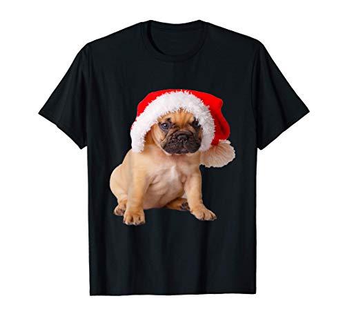 Cute French Bulldog Puppy Frenchie Santa Hat Christmas Gift T-Shirt