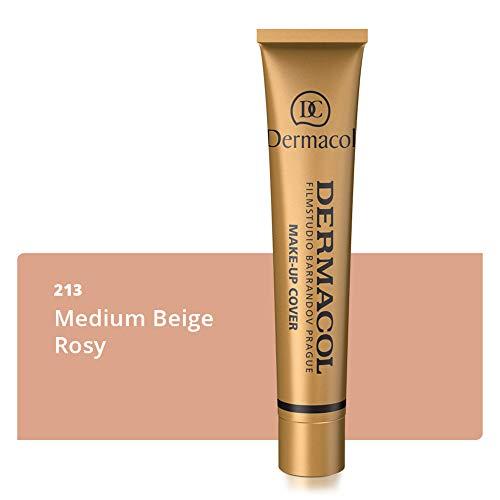 Dermacol Deckendes Make-up Cover für Gesicht und Hals - Wasserfeste Foundation mit LSF 30 für einen makellosen Teint - Mittleres Beige-Rosy 213, 30 g